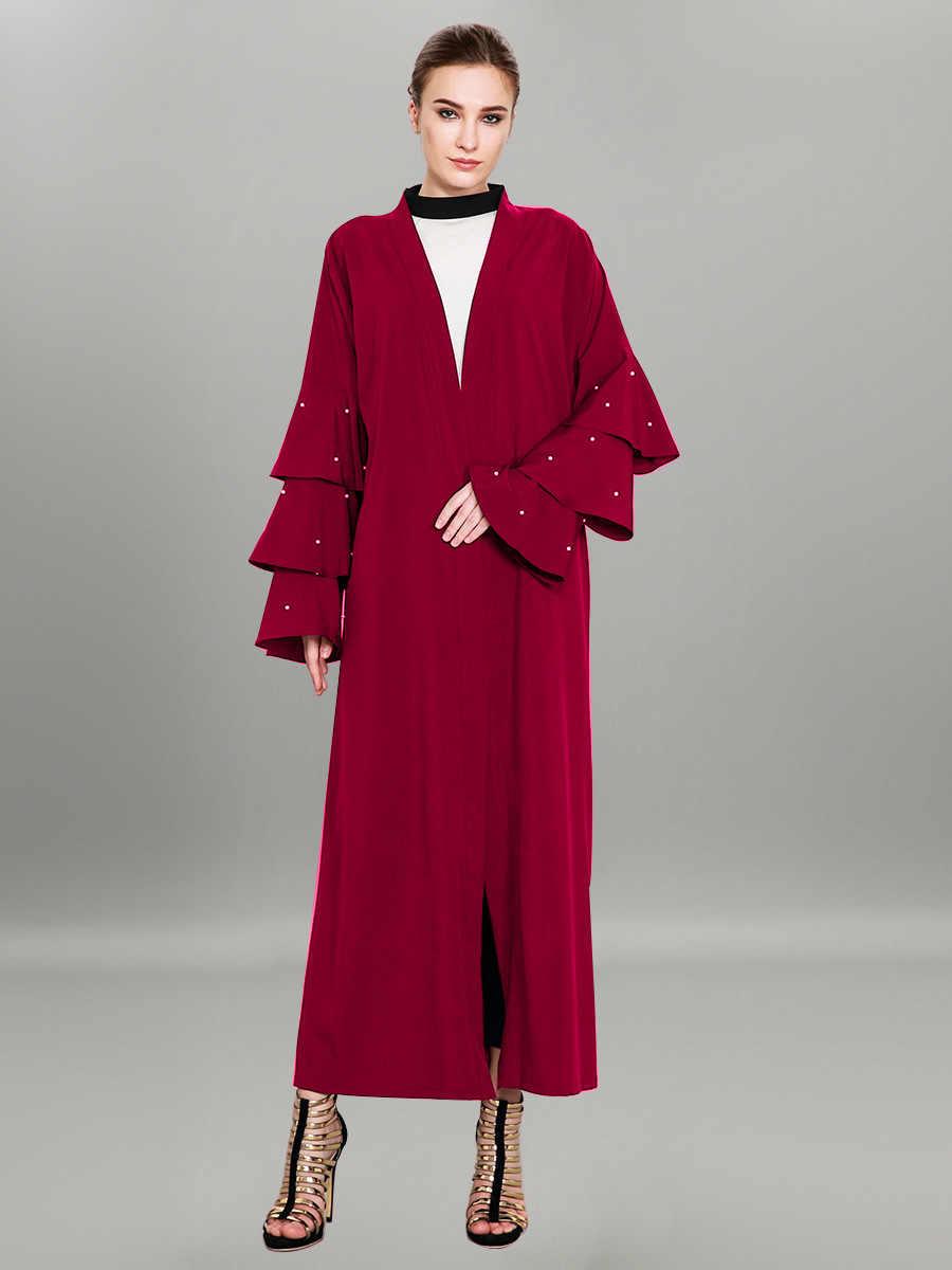 בתוספת גודל 4xl מוסלמי העבאיה פתוחה מקסי שמלת נשים קפטן קימונו Jubah ואגלי אבוקה שרוול שרוכים בגדים אסלאמיים גלימה ארוכה