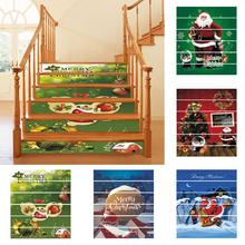 fashion 6Pcs Stair Stickers Waterproof PVC Christmas Santa Claus Stairs Step Stickers Decals Xmas Decoration Stickers Home Decor