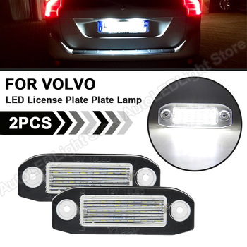 2Pcs For Volvo S80 XC90 S40 V60 XC60 S60 V70 XC70 C70 V50 LED License Number Plate Lights Lamp White Canbus NO Error Car Styling image