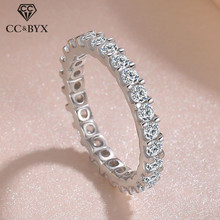 925 Silver Rings Trendy Jewelry Cubic-Zirconia-Ring Wedding-Engagement Bridal White Gold