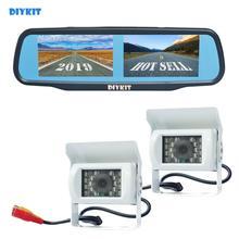 """DIYKIT 4.3 """"אחורית לרכב מראה צג + IR לילה Visioin CCD עמיד למים מבט אחורי הפוך גיבוי רכב משאית אוטובוס מצלמה"""