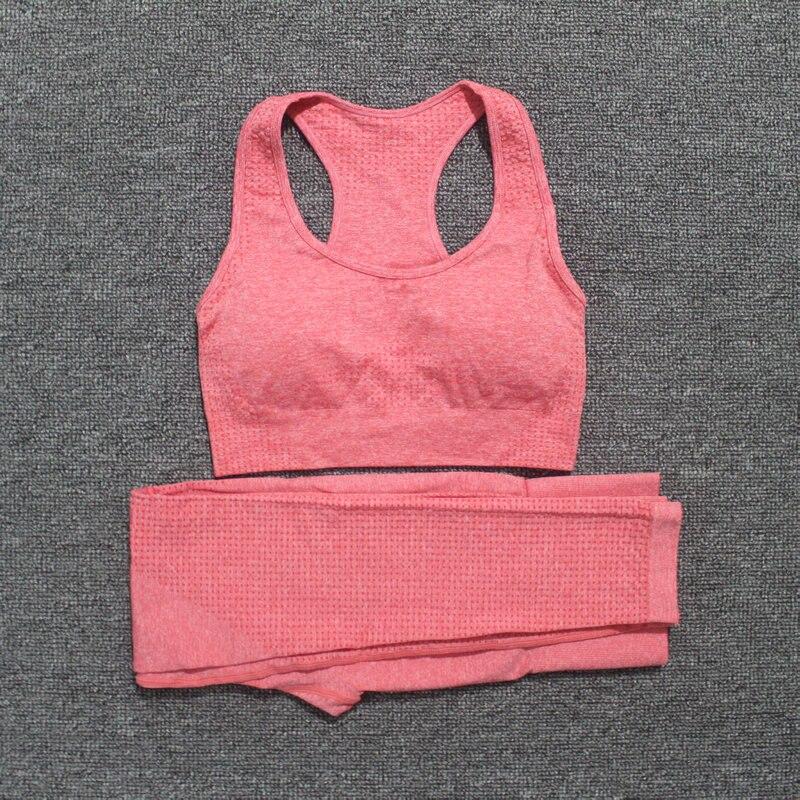 2 Pcs Sports Suits Vital Seamless Yoga Set Women Fitness Clothing Sportswear Woman Gym Leggings Tights Padded Push-up Sports Bra