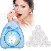 1 caixa + 10 rolos 50m dental flosser higiene oral dentes limpeza cera hortelã flavored dental floss spool palito dentes flosser