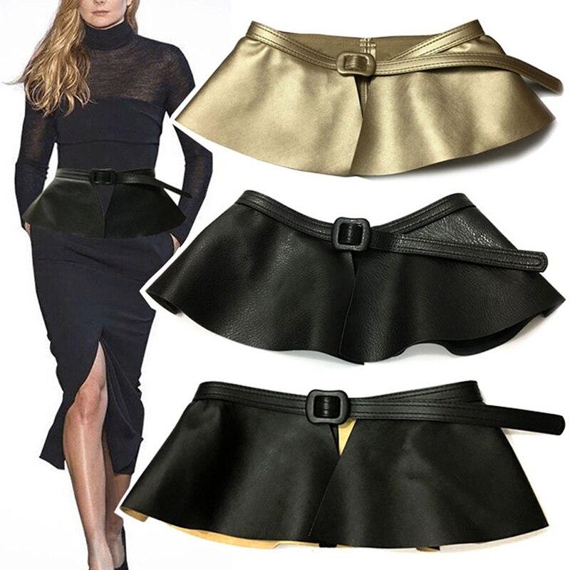 Women Cummerbunds Female Decorated Personality Cummerbunds New Causal Leather Skirt Ruffle Wide Belts Femme Clothing Accessories