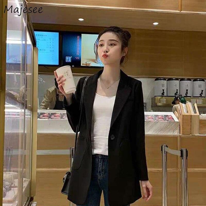 Женские блейзеры, большие размеры 3XL, свободные черные, на одной пуговице, подходят ко всему, рабочая одежда, корейский стиль, Ulzzang, женские