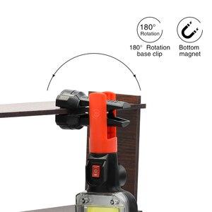 Image 5 - Led ワークライト cob 投光器 8000LM 充電式ランプ使用 2*18650 バッテリー led ポータブル磁気ライトフッククリップ防水