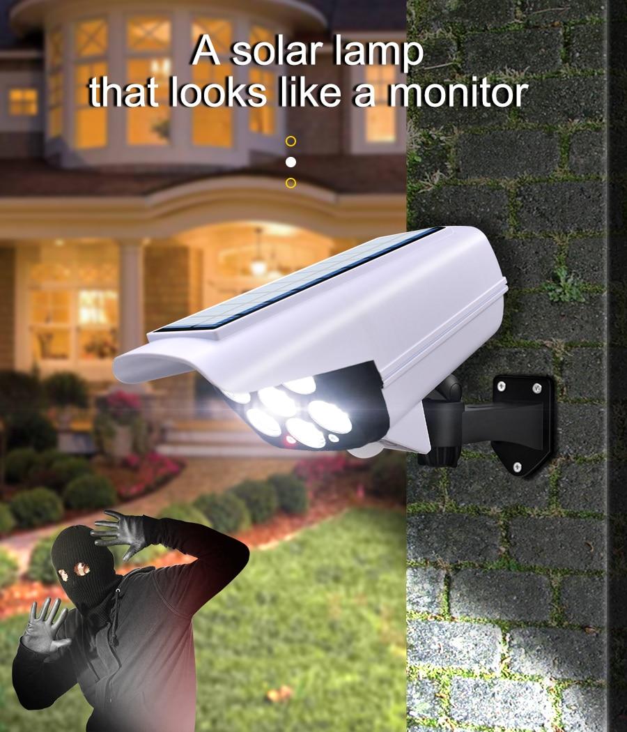 Mayitr 77 LED Solar Powered Wall Light PIR Motion Sensor Fake Camera Outdoor Lamp