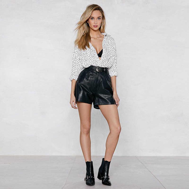 HDY Haoduoyi Autumn Simple And Stylish Turn-down Collar Polka Dot Printing Oversized Boyfriend Style Long Sleeve Pocket Shirt