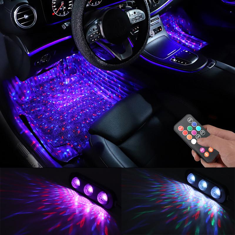 Niscarda 4pcs Car LED Starry Foot Light USB Atmosphere Ambient DJ Mixed Colorful  Music Rhythm Sound Voice Control Laser Lamp