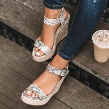 Personality Snake Skin Espadrille Sandals Women Ankle Strap Wedge Sandals Faux Suede High Heels Sandals Sandalias de mujer D25 faux pearl espadrille flatform sliders