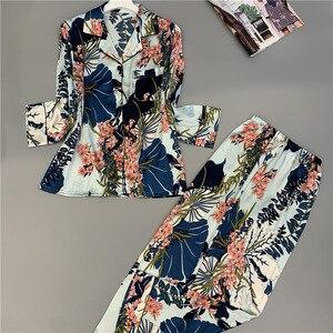 Image 5 - Nueva ropa de dormir cómoda sección larga seda hielo pijamas de mujer estampado de moda Primavera