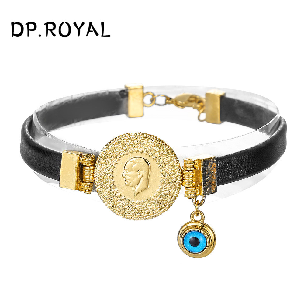 Muslim Arab Coin Totem Open Bracelet Ring Hand Chain Bracelet Jewelry Set Gift
