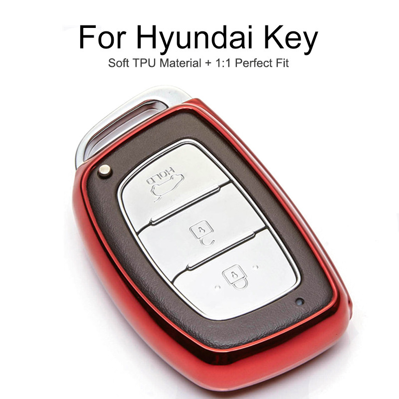 6 Colors TPU Car Key Cover <font><b>Case</b></font> <font><b>For</b></font> <font><b>Hyundai</b></font> Creta IX25 IX20 Solari Veloster Sonata Verna <font><b>Tucson</b></font> 2018 <font><b>2019</b></font> Key Chain Ring Stying image