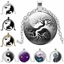 2019 New Retro Alloy Steampunk Gear Yin and Yang Tai Chi Time Glass Round Pendant Necklace Cute Cat Claw Sweater Chain