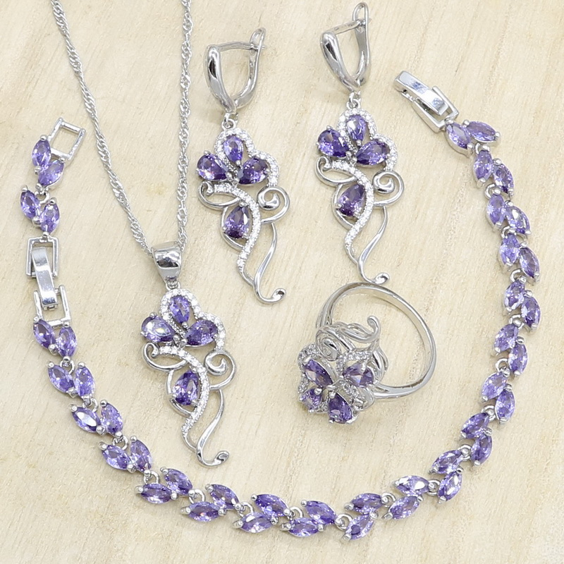 Purple Zircon 925 Silver Jewelry Sets