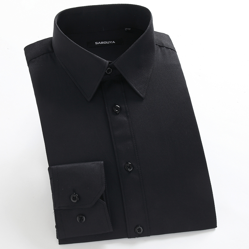 Men's Basic Designed Long Sleeve Dress Shirts Classic Collar Regular-fit Formal Business Work Social Solid Twill Tops Shirt