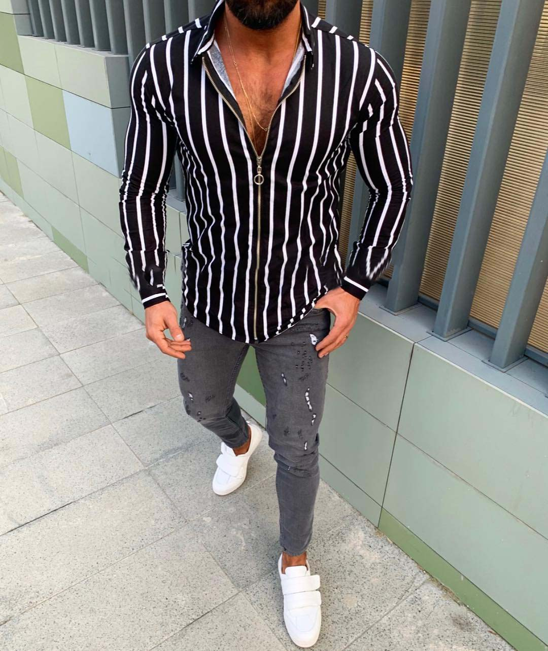 2019 Men Fashion Shirts Autumn Casual Long Sleeve Sweatshirts Zipper Up Striped Shand Collar Business Shirts Open Front Zip Tops in Casual Shirts from Men 39 s Clothing