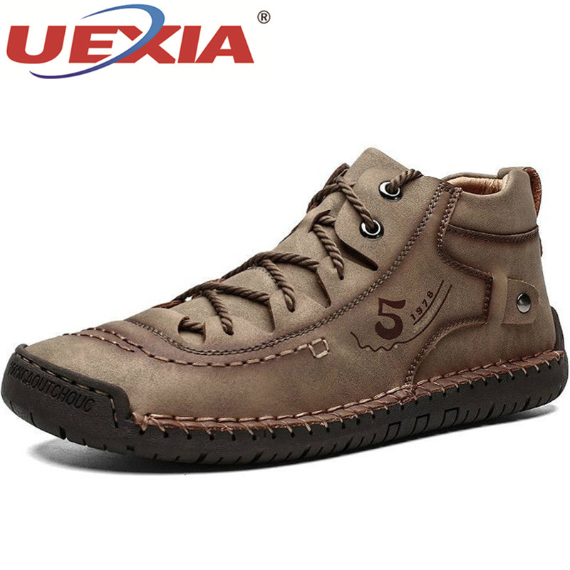 UEXIA Brands Comfortable Men Ankle Boots Quality Split Leather Shoes Snow Winter Warm Fur Plush Outdoor Footwear Big Size 38-48