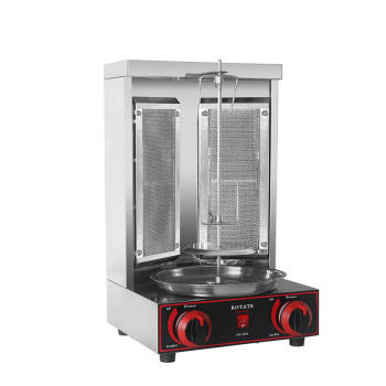 ITOP Shawarma Grill Two Infrared Burners Gas Electric 2 in1 Automatic Rotating Doner Kebab Machine Stainless Steel BBQ Grill manual satay skewer machine grilling bbq tools stainless steel mutton kebab lamb skewer doner kebab meat wear string machine