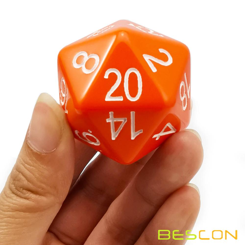 Bescon Jumbo Glowing D20 38MM, Big Size 20 Sides Dice 1.5 inch, Big 20 Faces Cube in Various Solid, Glitter, Glowing Colors 9