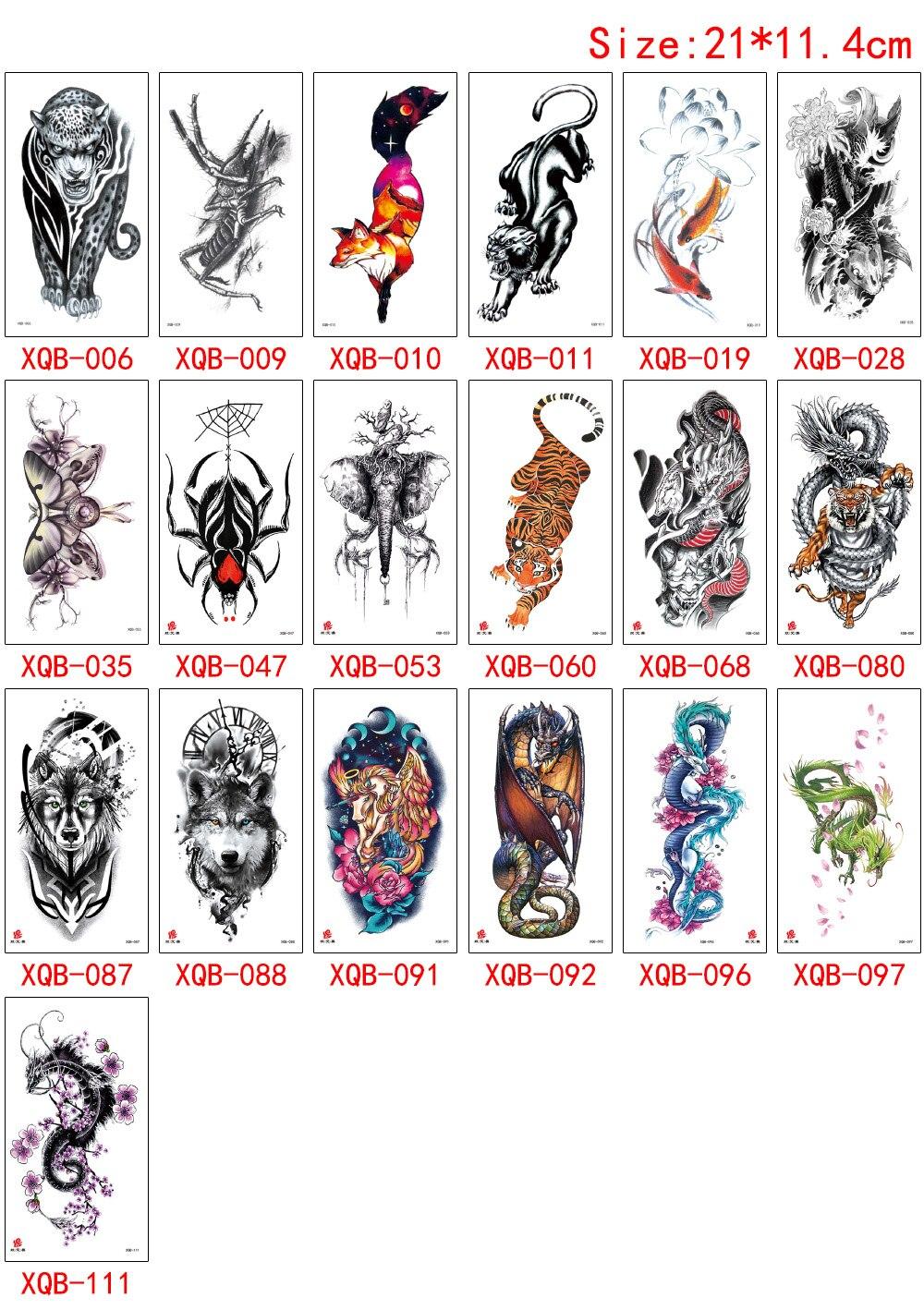 Ferocity Animal Design Tattoo Fox Tiger Wolf Dragon Spider Elephant for Woman Man Arm Sleeve Back Waist Temporary Tattoo Sticker (5)