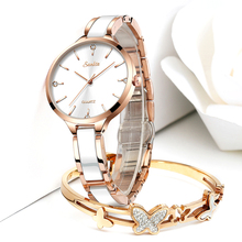 SUNKTA Women Watch Ceramic Watch Women Simple Diamond Clock