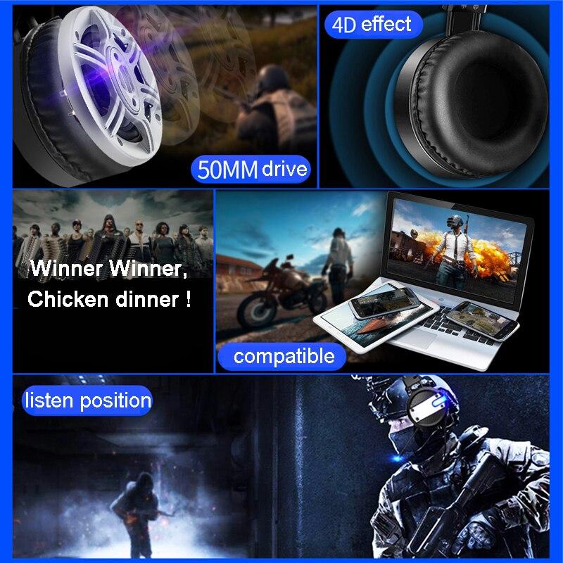 Nieuwe Wired Gaming Headset Diepe Bas Spel Oortelefoon Computer Hoofdtelefoon met Microfoon LED Licht Hoofdtelefoon voor PC Laptop Computer - 4
