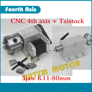 Image 2 - K11 80mm 3 jaw chuck 80mm 4th Axis & Tailstock CNC dividing head/Rotation Axis kit for Mini CNC router/ woodworking engraving