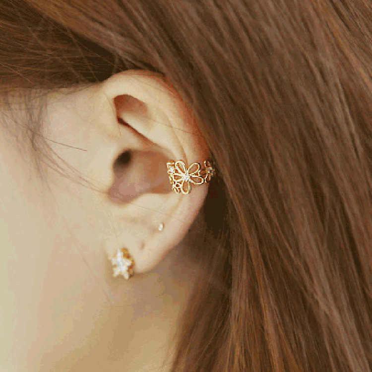 Versão coreana do novo jóias brincos senhora flores perfurados buracos de ouvido osso do ouvido brincos clipe