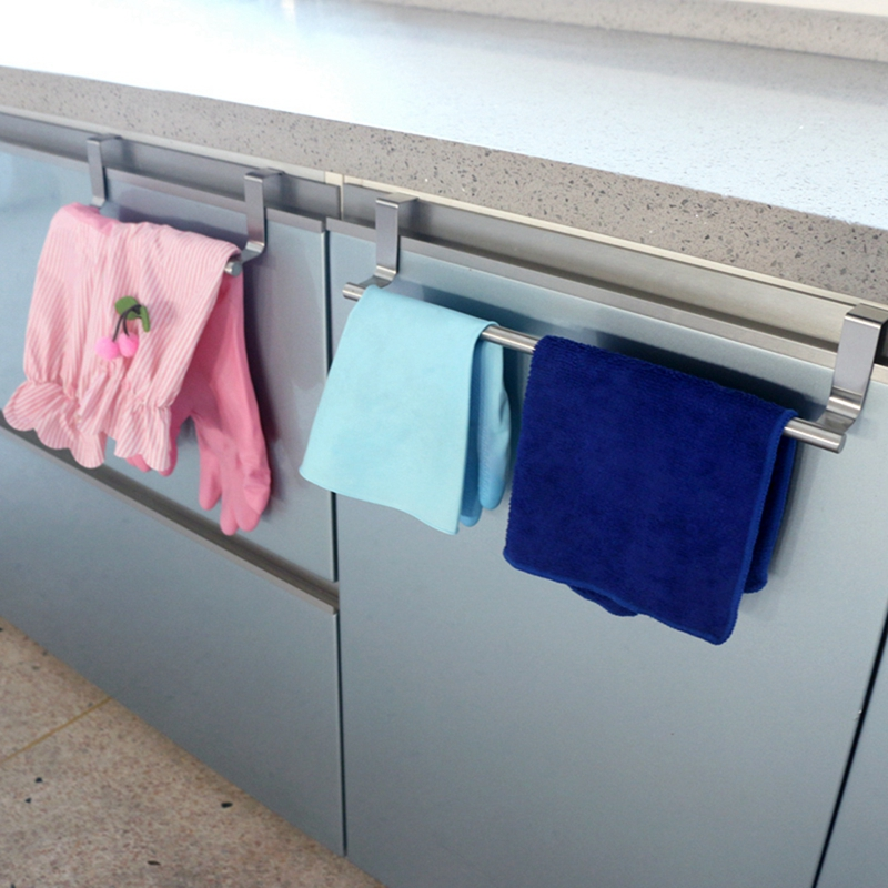 Bathroom Towel Stand Rack Kitchen Stainless Steel Cupboard Hanger Cabinet Hanging Sundries Wall Mounted Storage Shelf Holder