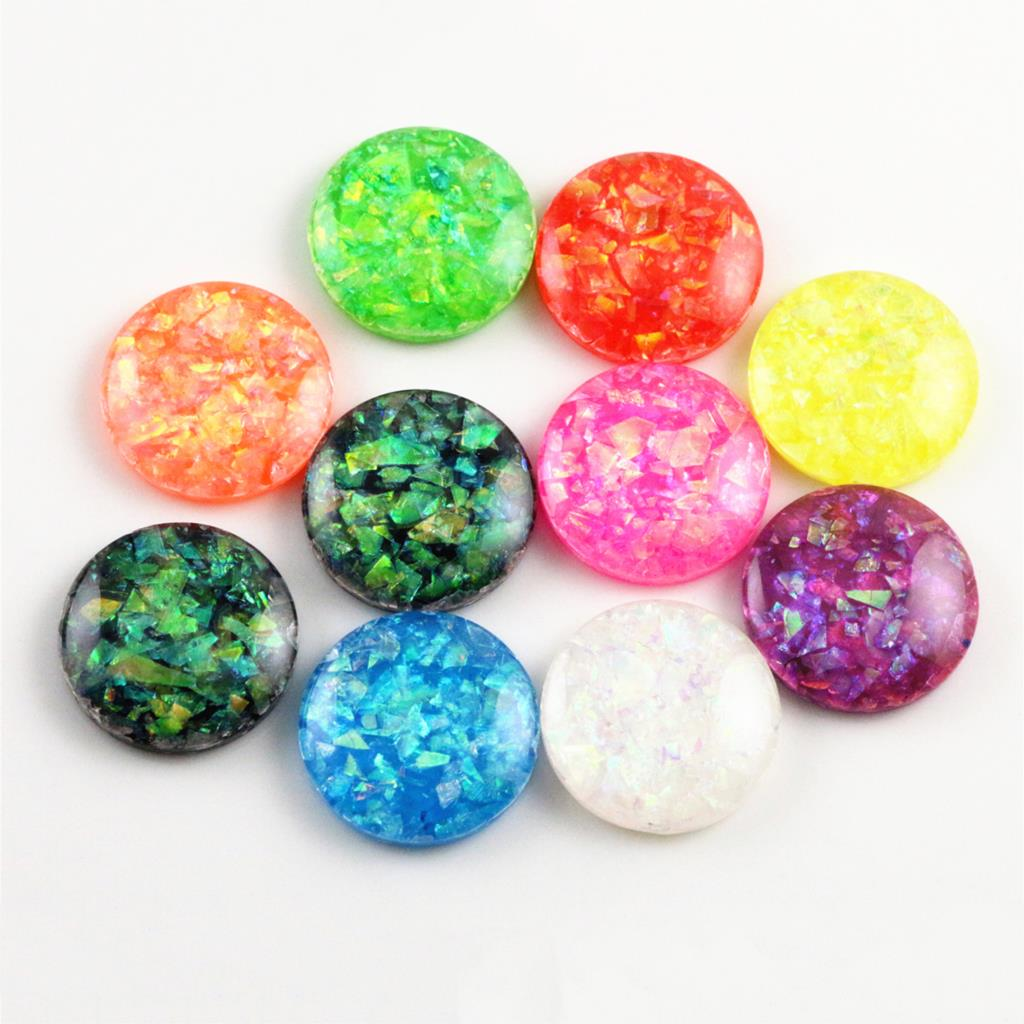 20mm 20pcs/Lot New Fashion Mix Color Built-in Metal Foil Flat Back Resin Cabochons Cameo V7-07