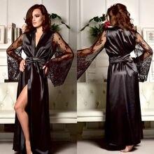 Ladies Women Satin Silk Nightdress Lingerie lace Silky Soft