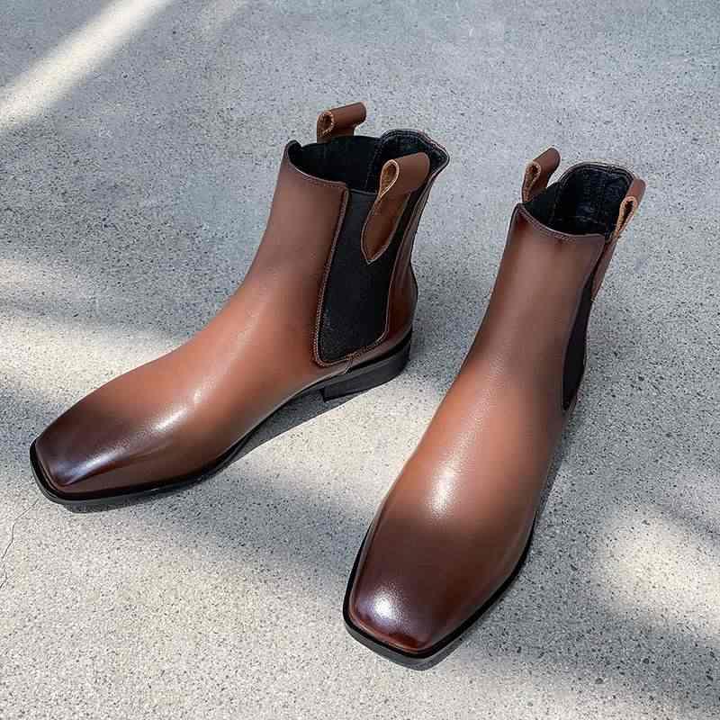 2020 nieuwe koe lederen slip op vierkante teen med hakken enkellaarsjes jurk neutrale classics runway casual brand vrouwen winter schoenen L43