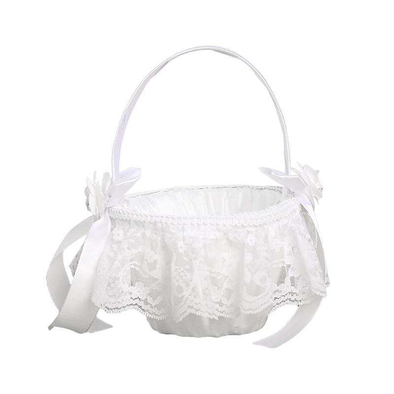 1pc Wedding Flower Girl Bridal Basket Elegant Portable Romantic Classic Flower Basket for Ceremony Party Wedding|  - title=