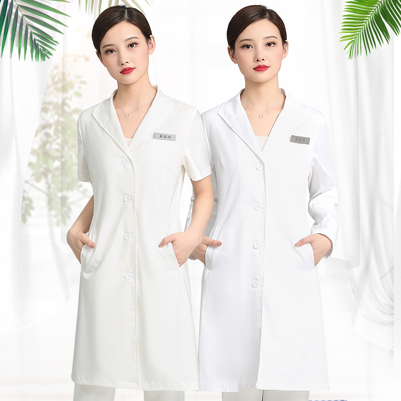 Summer thin salon beautician work clothes plastic dress short sleeves