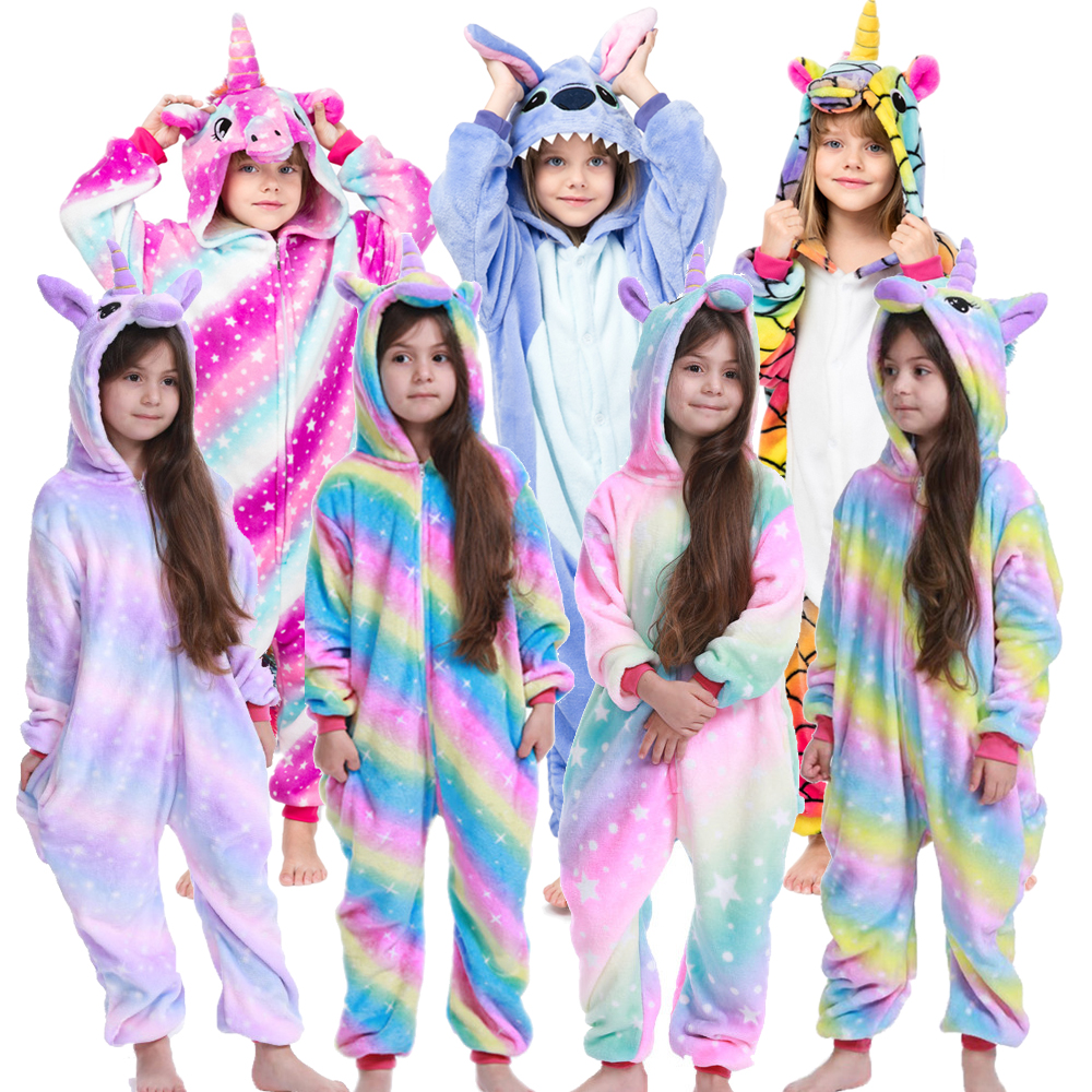 Kids Winter Stich Pajamas Children Panda Dinosaur Sleepwear Unicorn Kigurumi Onesies For Boys Girls Blanket Sleeper Baby Costume