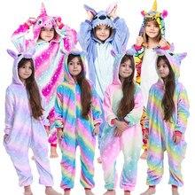 Kinder winter stich pyjamas kinder panda dinosaurier nachtwäsche einhorn kigurumi onesies für jungen mädchen decke sleeper baby kostüm