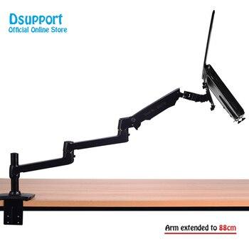 цена на 8013T Aluminum Alloy Desktop Mount Ultra-long Arm Dual-use Laptop Desk / Monitor Holder Mount Arm Full Motion Notebook Bracket