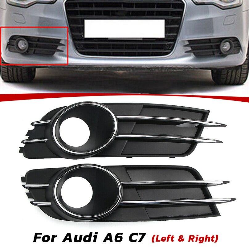 2x Left /& Right Front Bumper Fog Light Grille Cover Fit Audi A6 C7 Sedan 11-15