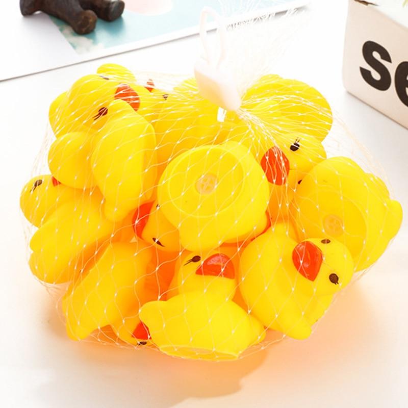 100 шт./лот мягкая резиновая утка игрушки для ванной детские игрушки для душа водные игрушки для детей подарок на день рождения Бесплатная до...
