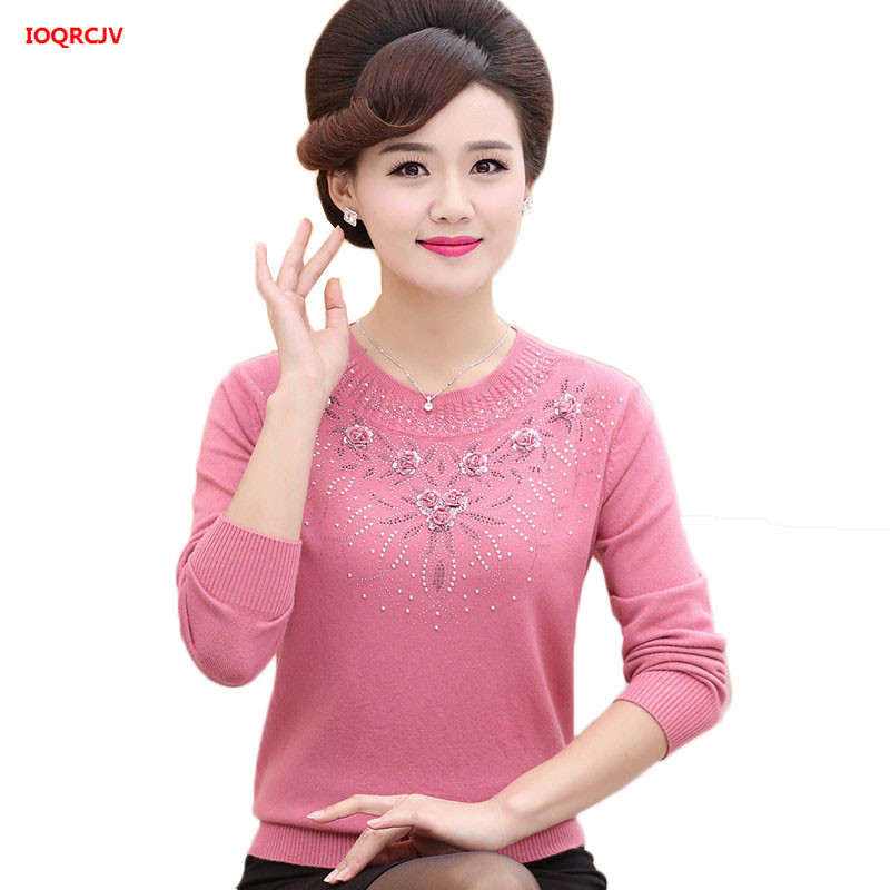 Middle-aged Women's Winter Sweaters Pullovers Plus Size 4XL Thickened Warm Bottoming O-neck Wool Sweater Mother Dress Tops W1530