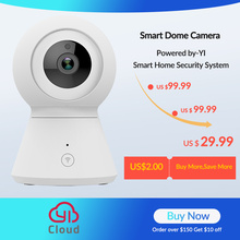 Cámara domo inteligente 1080p alimentada por YI Pan/Tilt/Zoom inalámbrica Wi-Fi IP cámara de vigilancia de seguridad YI Cloud
