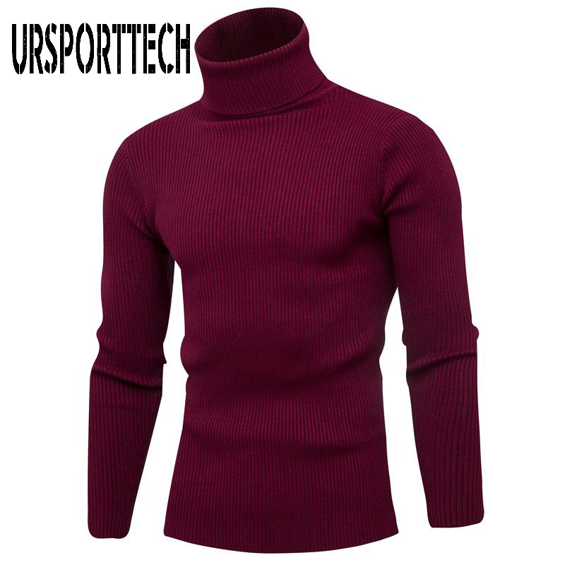 Winter Men's Sweater Men Turtleneck Solid Color Knitwear Sweaters Handsome Vertical Striped Turtleneck Sweaters Pullover Men 3XL