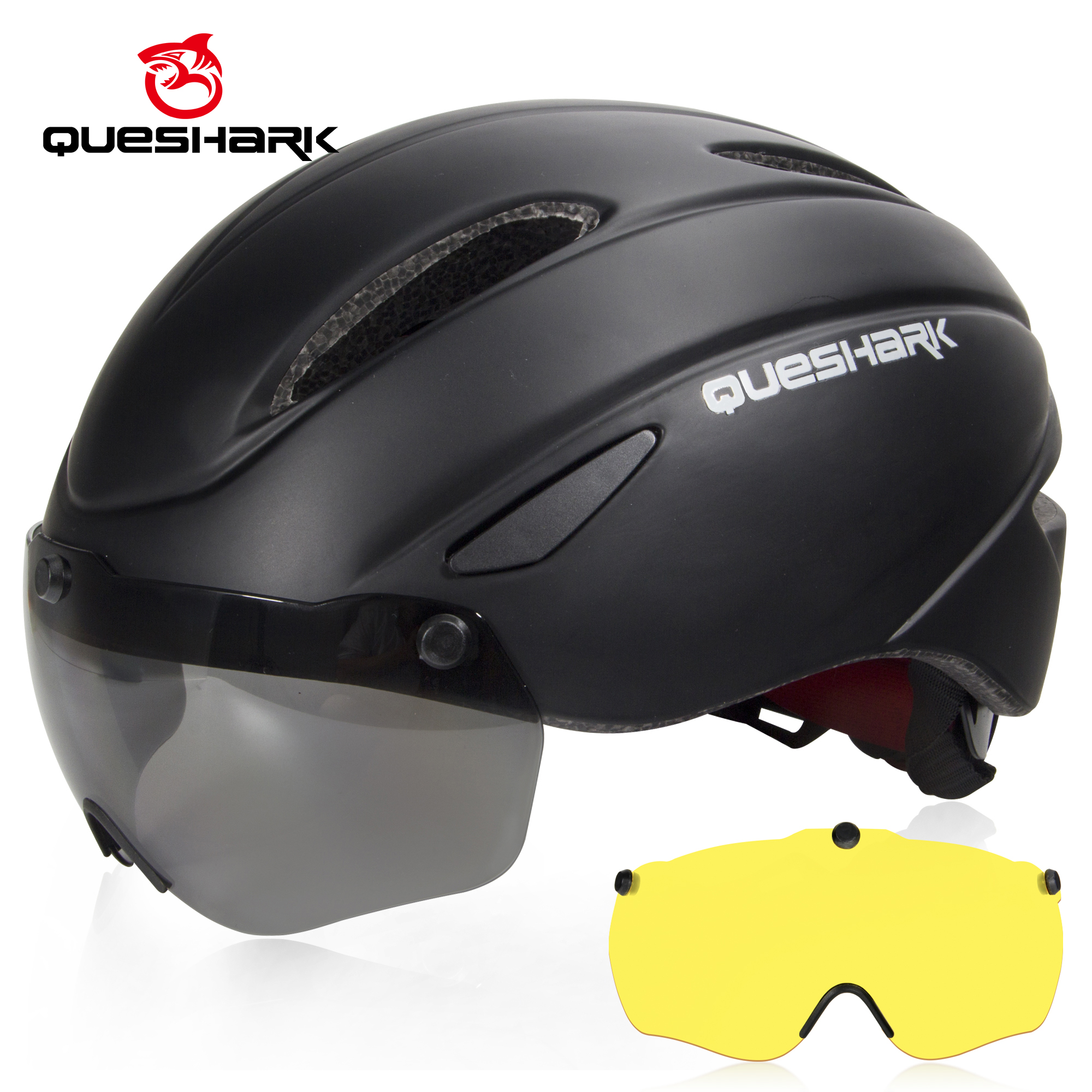 QUESHARK Aero Goggles Bicycle Helmet Safety Racing Cycling Helmets Mountain Road Bike Helmets With Windproof Glasses