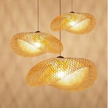 Moderne bambou Art pendentif lumire Restaurant htel rotin suspension pour salon intrieur dcor lampe suspendue appareils de