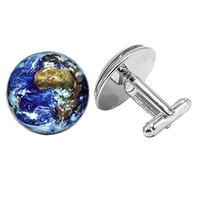 цена на 2018 New 1 Pair Men's Cufflinks High Quality World Global Cufflinks World Map Cufflinks Women's Men's Silver Cufflinks