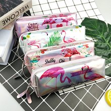 2019 Unicorn Flamingo Pencil Bag Glitter Pen Laser Case for Girls Kids Gifts School Supplies Kawaii Stationery
