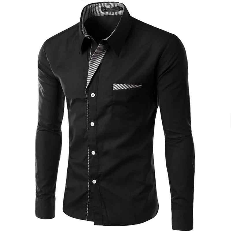 Gorąca sprzedaż nowych moda Camisa Masculina koszula z długim rękawem mężczyzn Slim fit projekt formalna w stylu casual markowa koszula męska rozmiar M-4XL