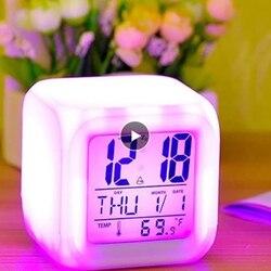 Многофункциональный портативный будильник, 7 цветов, большие светодиодные цифровые светящиеся украшения для дома, спальни, будильник, терм...