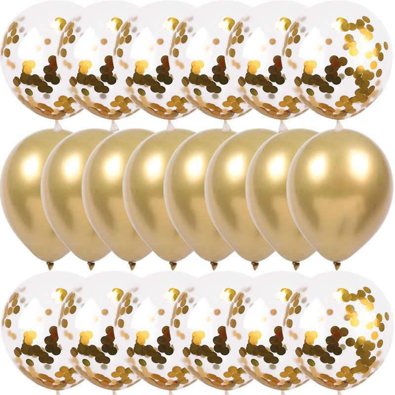20Pcs Emas Confetti Balon Set Chrome Ballon Dekorasi Ulang Tahun Anak-anak Dekorasi Pesta Ulang Tahun Pernikahan Globos Logam